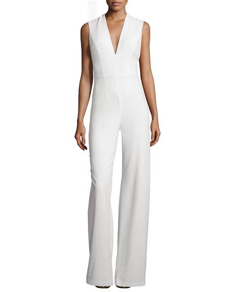 27837 V Neck Jumpsuit amadeo sleeveless v neck jumpsuit with cape in white lyst