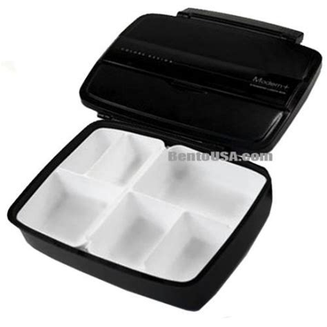 modern sectional black bento lunch box 870ml bentousa