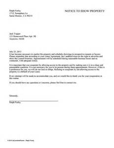 Sle Letter From Landlord To Tenant by Notice To Show Property Ez Landlord Forms