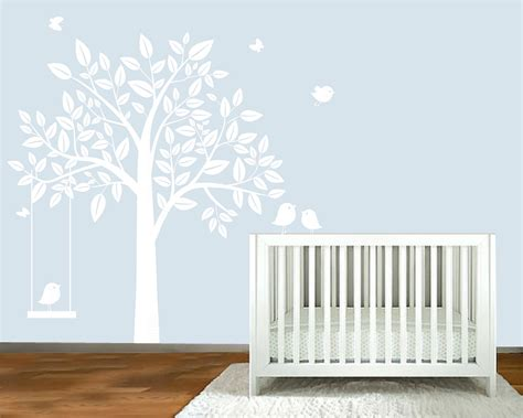 White Tree Wall Decal Nursery Wall Decal White Silhouette Tree Nursery Wall By Modernwalldecal