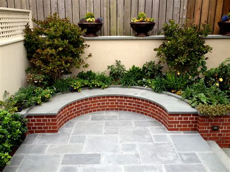 how to make a brick bench backyard feature blue stone patio curved bench jeff king and company award