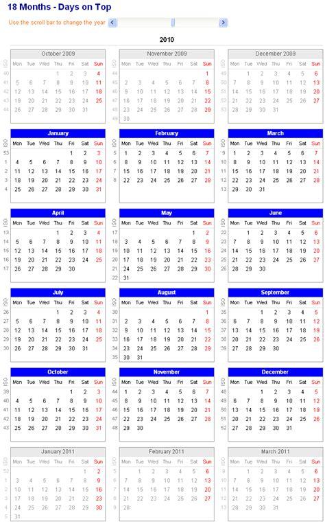 18 month printable calendar calendar template 2016