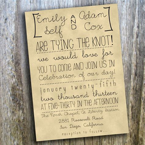 Casual Wedding Invitation Paper by Printable Wedding Invitation Rustic Casual