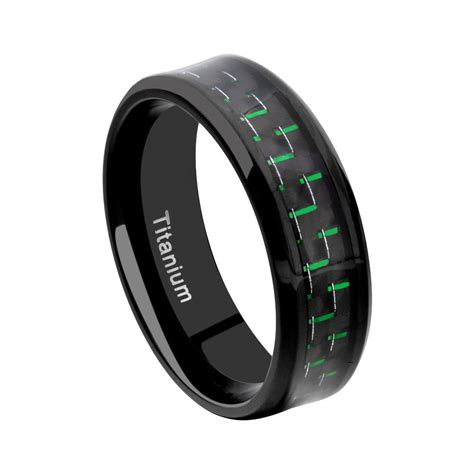 Cincin Pesta Kawin Tunangan Black Ring Titanium Wedding titanium wedding rings titanium wedding band ring carbon fiber silver black green blue