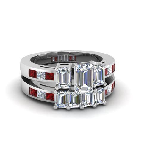 emerald cut wedding ring set with ruby in 14k