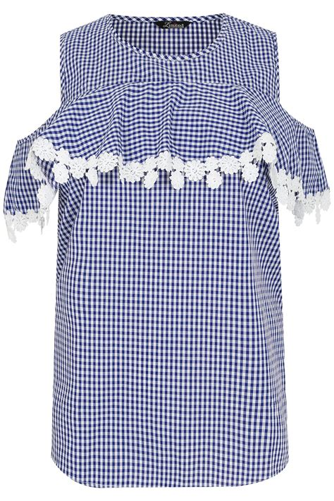 Gingham Blouse limited collection blue white gingham blouse with frill