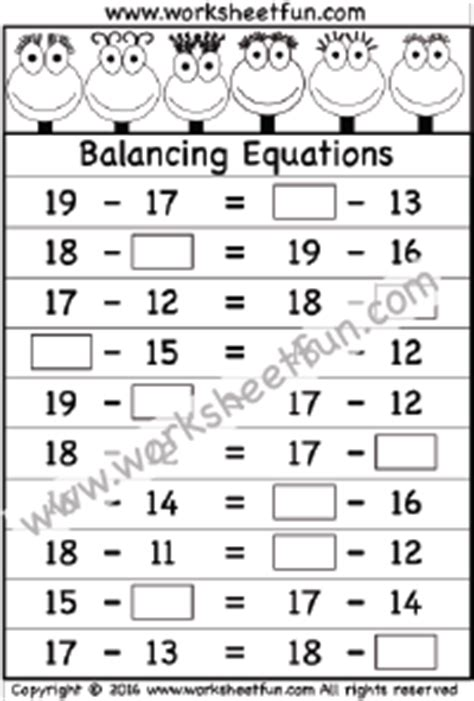 28 Easy Math Equations Worksheets Balancing Math Equations1000