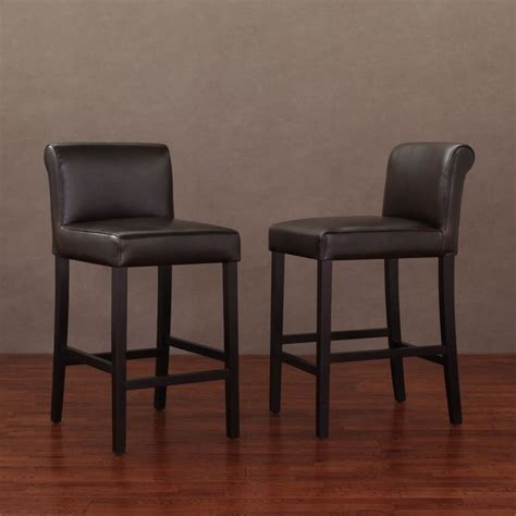 Brown Leather Counter Stools by Cosmopolitan Brown Leather Counter Stools Set Of 2