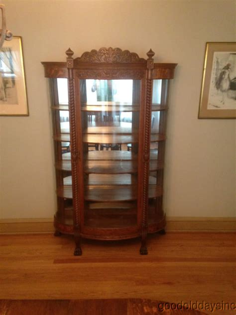 Antique Carved Quarter Sawn Oak Curved Glass China Cabinet Curved Glass Antique China Cabinet