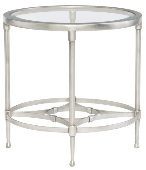 glass top accent tables round metal end table with glass top bernhardt