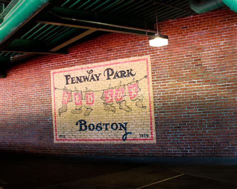 wall mural inside fenway park boston ma editorial image