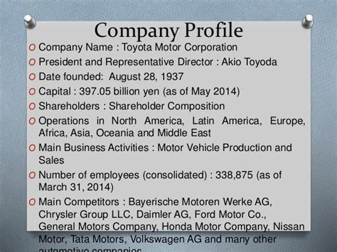 toyota company overview business enviornment of toyota japan