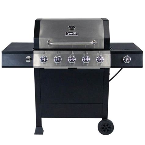 dyna glo 5 burner open cart lp gas grill in stainless