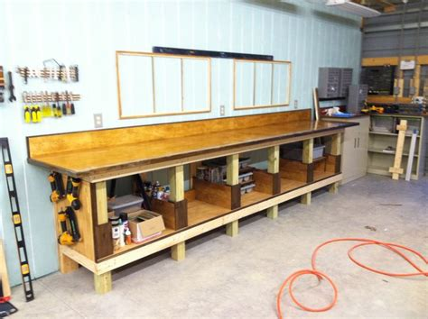 workshop bench top finished shop work bench with shelving storage insets