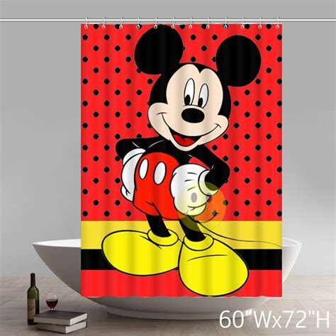 mickey mouse fabric shower curtain custom waterproof polyester fabric disney cartoon mickey