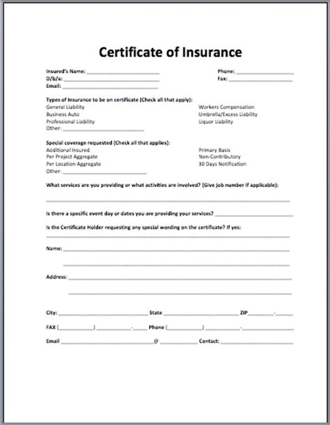certificate of insurance request form template certificate of insurance template beepmunk