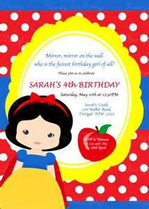 snow white birthday invitation by this moment