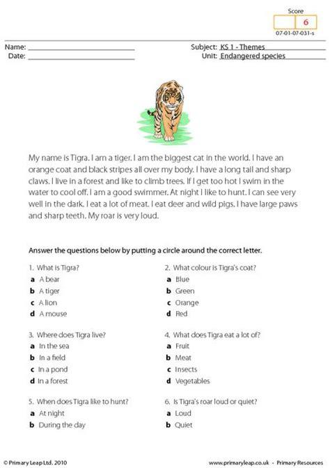 free printable reading comprehension worksheets ks1 bengal tiger comprehension primaryleap co uk