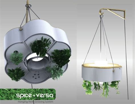 Wall Hanging Indoor Herb Garden - hydroponic planter and lamp gardening pinterest