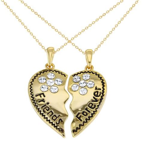 gold tone best friends forever necklace pendant