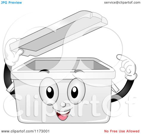 cartoon   plastic storage bin mascot lifting  lid