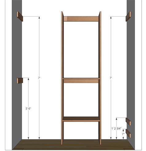 Closet Blueprints by Diy Closet Organizer Plans For 5 To 8 Closet
