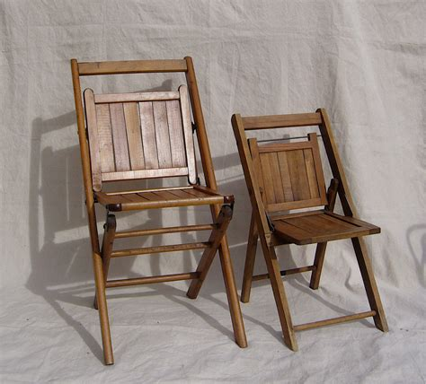 antique folding chairs wood slat pair child sized c