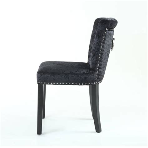 Calgary Fabric Dining Chair In Crushed Velvet Black In A Dining Chairs Calgary