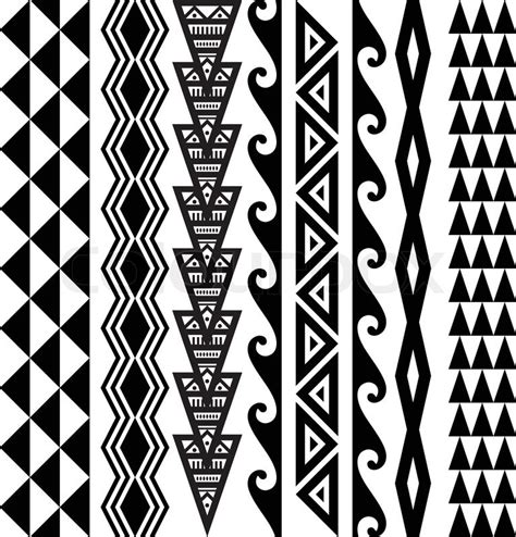 hawaiian tribal pattern meanings kakau hawaiian tattoo collection in black stock vector
