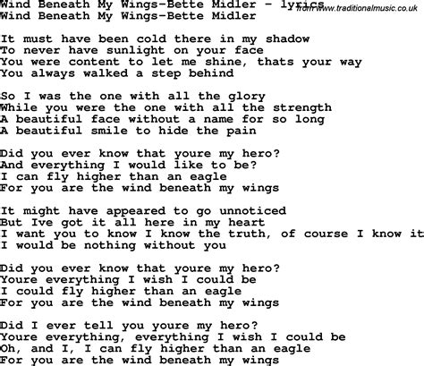 bette midler lyrics song lyrics for wind beneath my wings bette midler