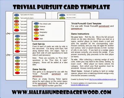 Trivia Card Template by Trivial Pursuit Review Cards Half A Hundred Acre Wood