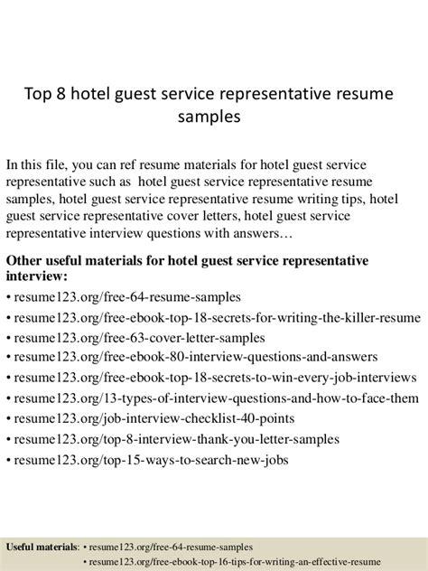 sle resume hotel guest service representative resume