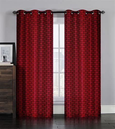 Pair Of Leanne Burgundy Black Window Curtain Panels W Grommets