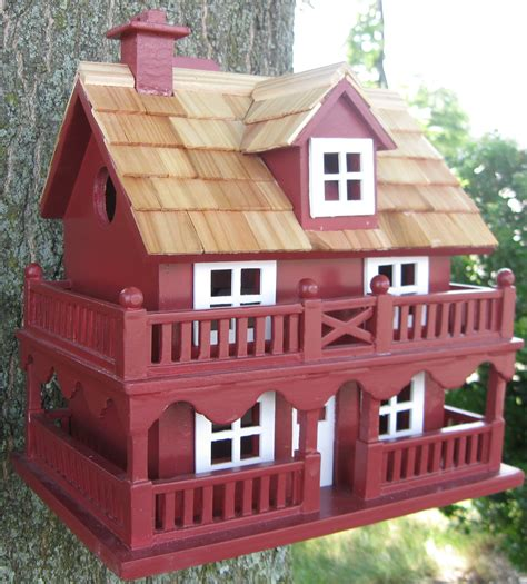 home bazaar classic series novelty cottage birdhouse red