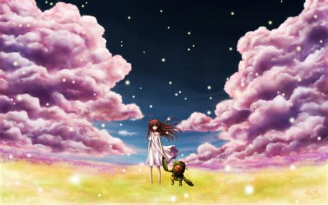 anime girl summer wallpaper clouds robot long hair brown clannad garbage junk dolls