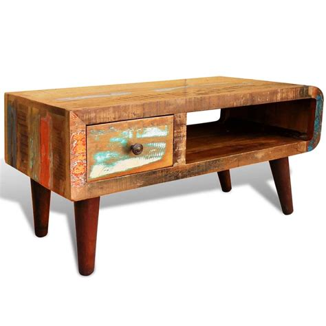 antique style reclaimed wood coffee table curved edge - Curved Coffee Table