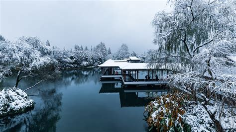 wallpaper china hangzhou park snow trees lake people