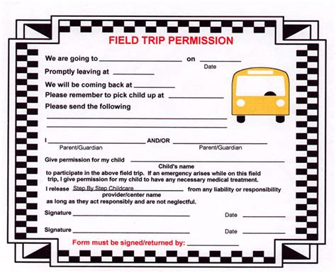 35 permission slip templates field trip forms places to