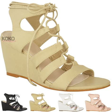 mid high heel shoes womens strappy wedges mid high heel sandals lace up
