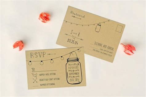 Annabelle Editable Wedding Rsvp Postcard Double Sided Rustic Mason Jar Lights Response Sided Invitations Templates