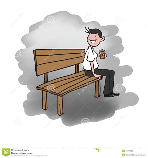 bench drinking man sitting on bench drinking coffee stock vector image
