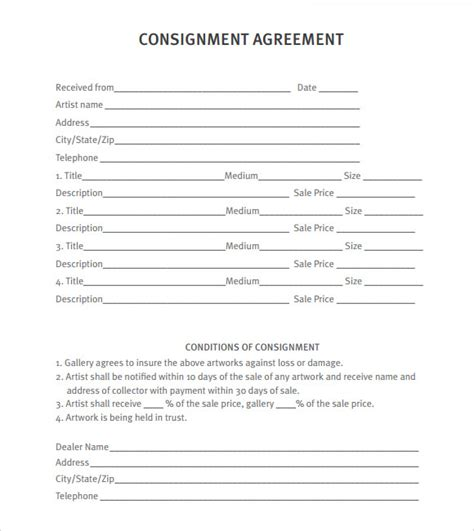consignment agreement template free consignment agreement 9 free sles exles