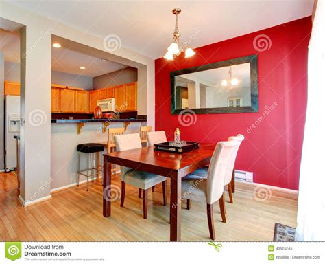 Best Small Kitchen Designs 2013 dining room with contrast red wall stock photo image