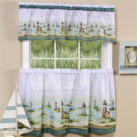 nautical curtain valance lighthouse window curtain set valance 36 quot tiers coastal