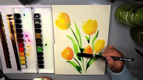 using poster paint mijello mission gold watercolor abstract tulips