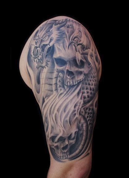 dragon skull tattoo cat tattoos half sleeve with skulls