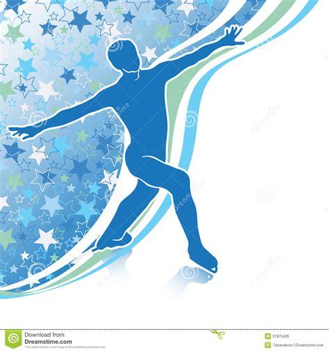 figure background figure skates design template with backg stock