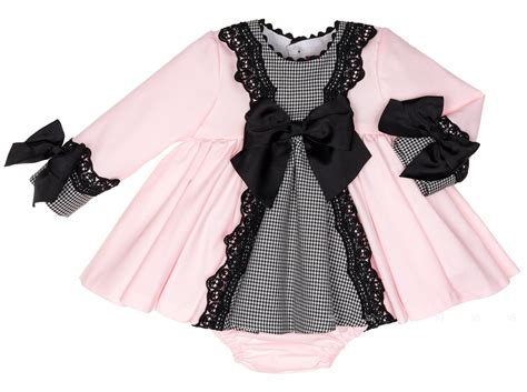 Houndstooth Dress Set baby pink houndstooth 2 dress set missbaby