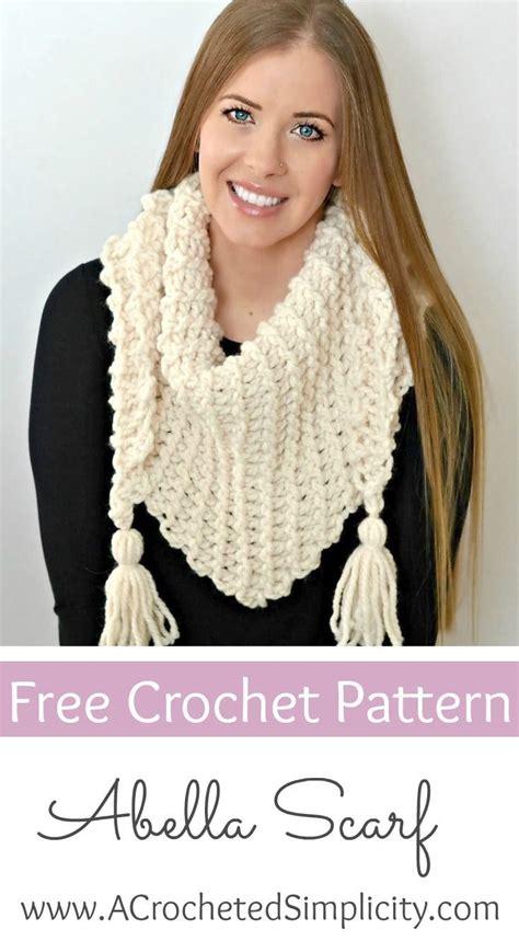 Abella Knit free crochet pattern abella triangular scarf needles