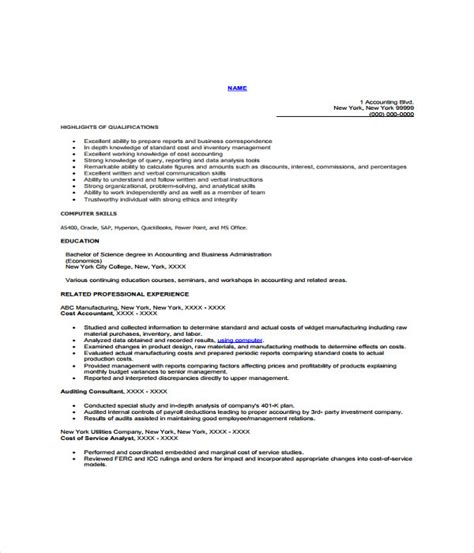 Cost Accountant Resume Sle by Resume Cost Accountant 28 Images 26 Accountant Resume Format Accountant Resume Templates 7